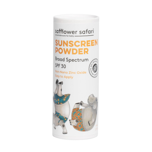 Baby All Natural Sunscreen Powder Non-nano Zinc Oxide SPF 30 - SAFFLOWER SAFFARI Baby All Natural Sunscreen Powder Non-nano Zinc Oxide SPF 30 | Biodegradable, Safe for Coral Reefs.