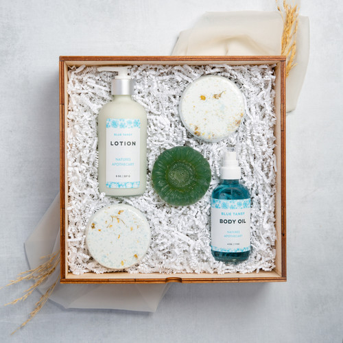 Blue Tansy -  The Gift of Luxury - Perfect House Warming Gift - Curated Gifts By DAYSPA Body Basicsdy Basics Gift Box Made in USA