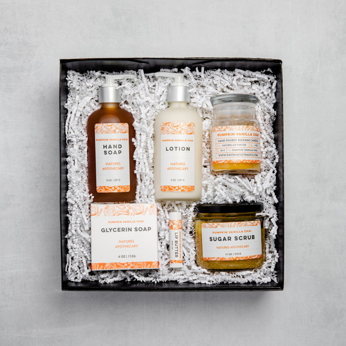 Pumpkin Vanilla Chai The Gift of Luxury - Perfect House Warming Gift - Curated Gifts By DAYSPA Body Basics Basics Gift Box Made in USA