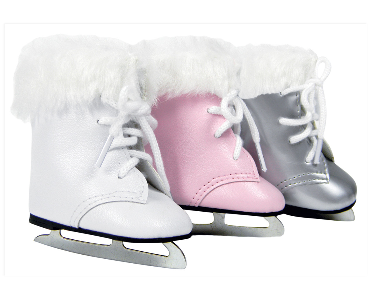 """ICE SKATES WHITE FUR TRIM FITS  AMERICAN GIRL AND 18/"""" DOLLS DOLL CLOTHES"""