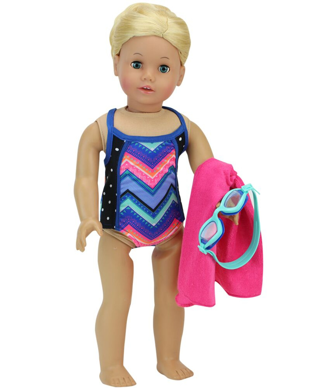 """Doll Clothes 18/"""" Bathing Suit Navy White One-piece Fits American Girl Dolls"""