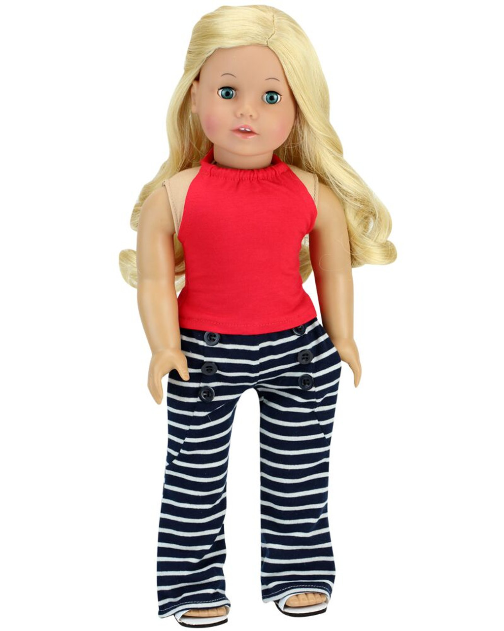 White Tank with Lace Trim  Fits 18 inch American Girl Doll