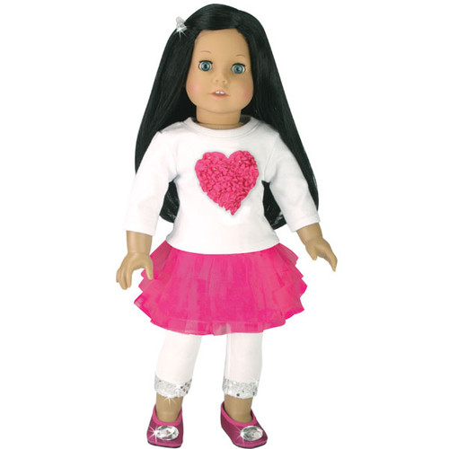 """Pink /& White Knit Top Shirt with Sequin Heart for 18/"""" American Girl Doll Clothes"""