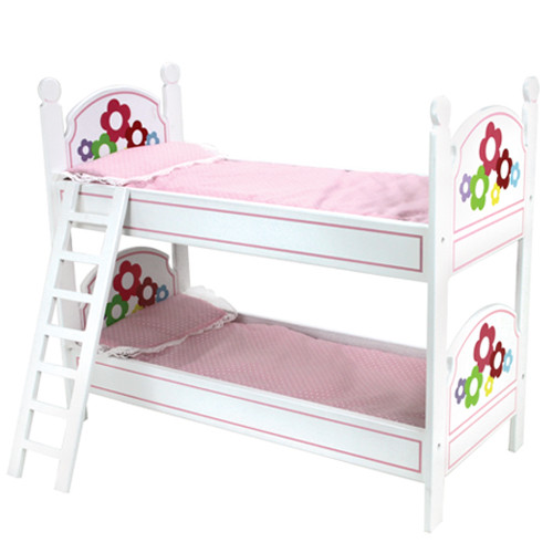White Hand Painted Bunk Bed Ladder And Bedding Fits 18 Dolls My
