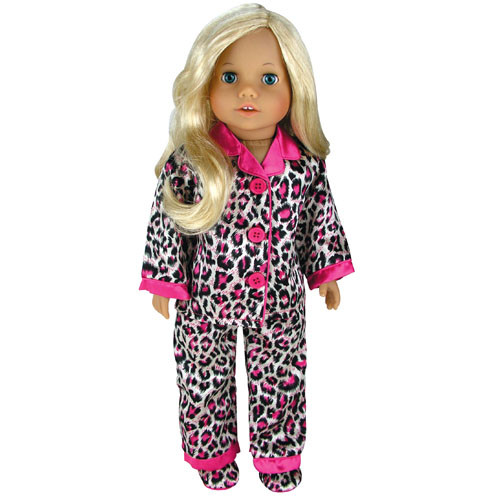 ee2fcf0785 Sophia s Animal Print Satin PJ s w  Hot Pink Trim   Slippers Set Fits ...