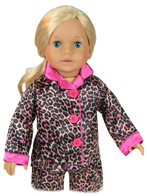 58c0d6ad0b ... Sophia s Animal Print Satin PJ s w  Hot Pink Trim   Slippers Set Fits  ...