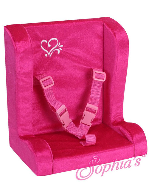 Hot Pink Velour Car Seat For 18 Inch Dolls