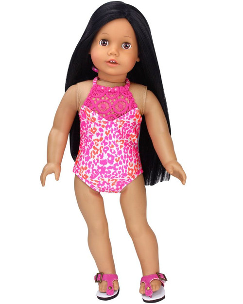 """Electric Metallic Blue Swim Bathing Suit 18/"""" Doll Clothes Fit American Girl Doll"""