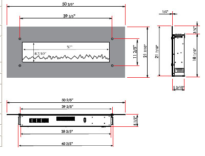 specifications for electric fireplace wall mount unit