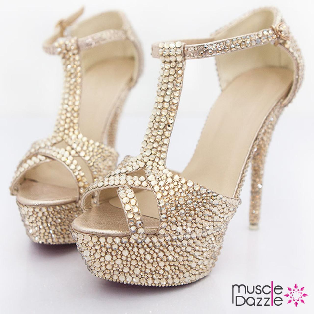 Gold Crystal Diamonte High Heel Sandals a285e84671