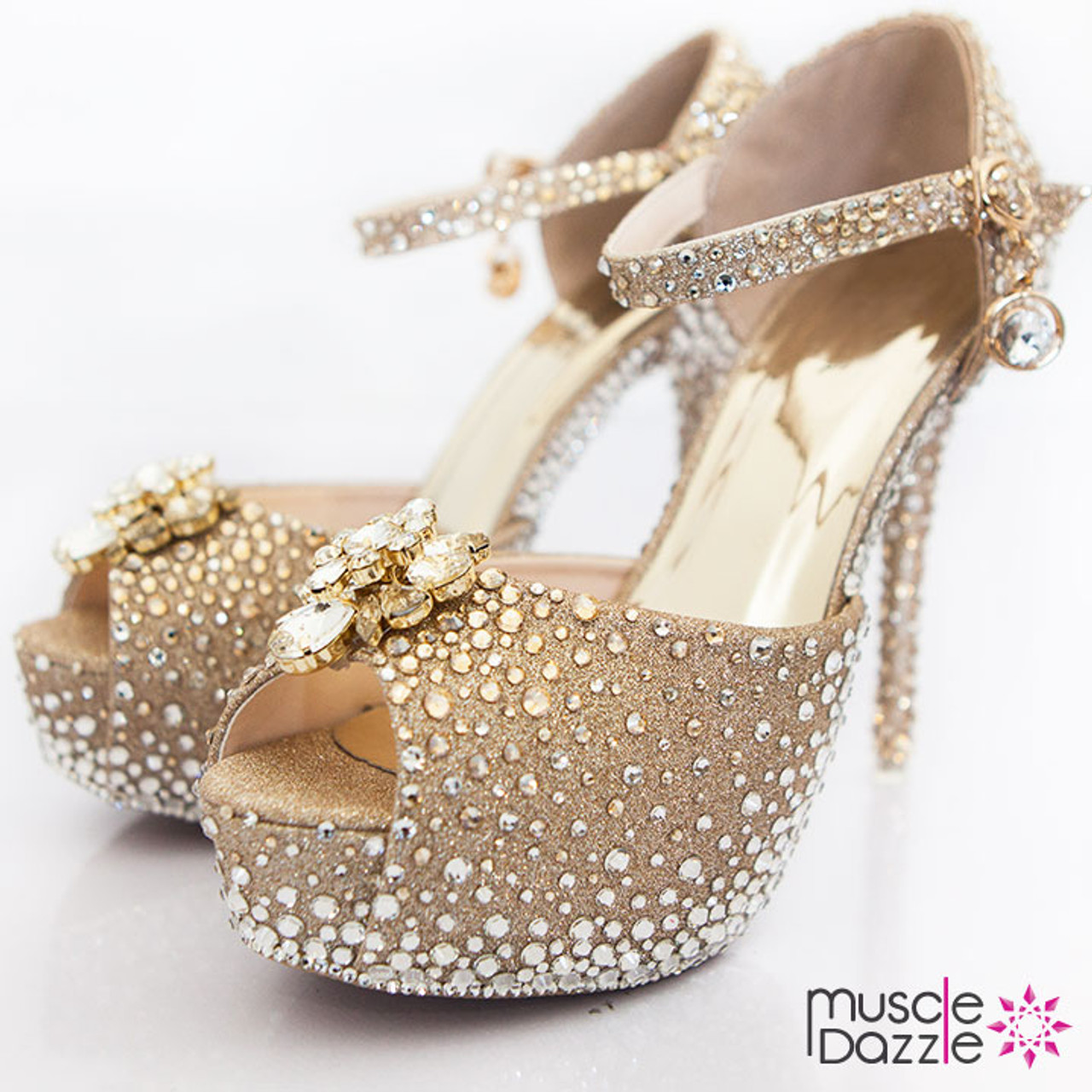 Glittery gold high heel platform pumps with gold and silver crystals c9e33ba1a0