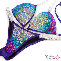 Purple / Multi-colored Ombre Crystal Competition Bikini