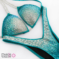 Teal Ombre Figure Competition Suit