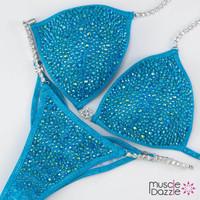 Aqua Blue Crystal Competition Bikini (New)