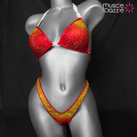 Red Ombre Figure Competition Suit