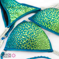 Blue Green Crystal Competition Bikini Suit