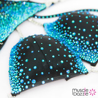 Blue on Black Crystal Competition Bikini