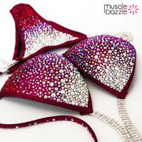 Dark Red Crystal Competition Bikini (CB234)
