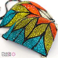 Multi-colored crystal competition bikini