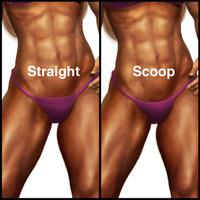Muscle Dazzle bikini front styles