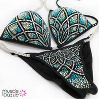 Black & Blue Crystal Competition Bikini