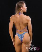 Pink Blue Figure Competition Suit
