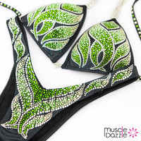 Green Flame Figure Competition Suit
