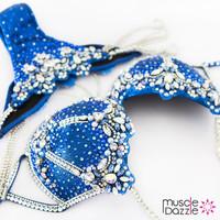Blue WBFF diva competition bikini