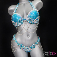 Blue WBFF bikini competition suit