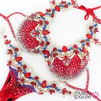 Red  WBFF bikini diva competition suit