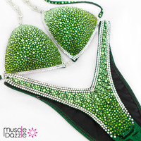 Green Ombre Figure Competition Suit