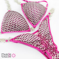 Crystal Competition Bikini with Pink and Silver Rhinestones
