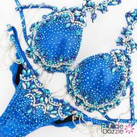 Blue Bikini Diva crystal competition bikini
