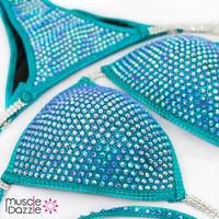 Sapphire blue crystal bikini competition suit