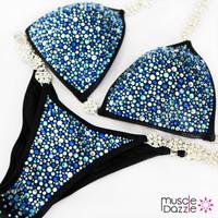 Blue bikini competition suit