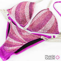 Pink and purple bikini competition suit