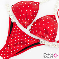 Affordable red bikini competition suit