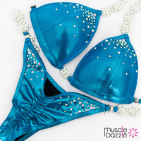 Affordable aqua blue competition bikini
