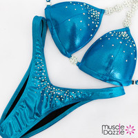 Affordable aqua blue figure competition suit