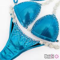 Affordable aqua blue competition bikini