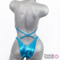 Affordable aqua blue figure competition suit