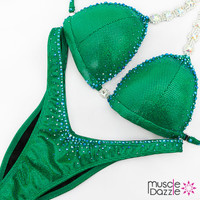 Affordable green figure competition suit