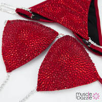 Red crystal bikini competition suit (New)