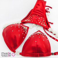 affordable red competition bikini