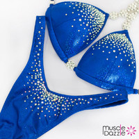 Affordable blue figure competition suit