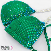 Affordable green crystal competition bikini