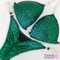 Affordable green bikini competition suit