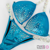 Affordable blue bikini competition suit