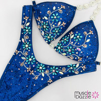 Royal blue sequin figure competition suit