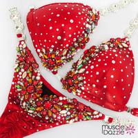 Red competition bikini